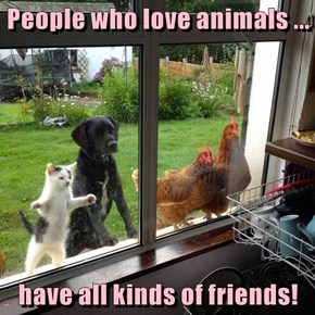 People who love animals ...  have all kinds of friends!