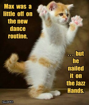 Max  was  a  little  off  on  the new  dance  routine,