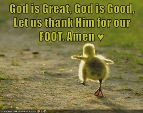 God is Great, God is Good, Let us thank Him for our FOOT. Amen ♥