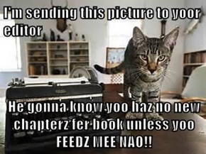 I'm sending this picture to yoor editor  He gonna know yoo haz no new chapterz fer book unless yoo FEEDZ MEE NAO!!