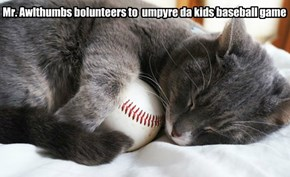 Mr. Awlthumbs bolunteers to  umpyre da kids baseball game