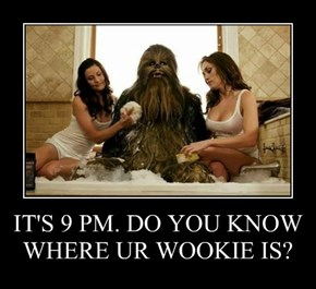 IT'S 9 PM. DO YOU KNOW WHERE UR WOOKIE IS?