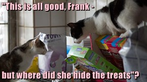 """""""This is all good, Frank -  but where did she hide the treats""""?"""
