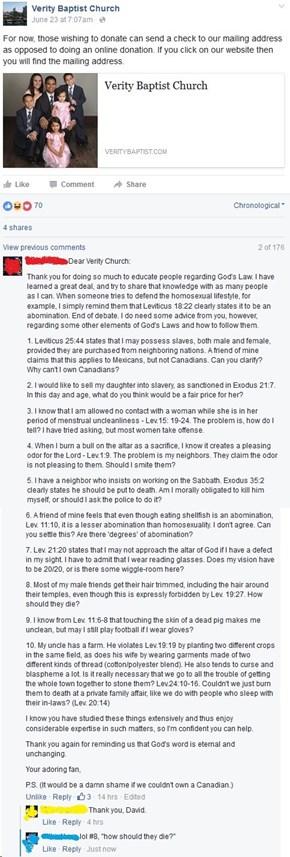 Verity Baptist Church Has Some Explaining To Do