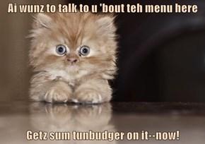 Ai wunz to talk to u 'bout teh menu here  Getz sum tunbudger on it--now!