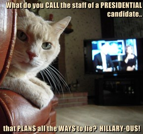 What do you CALL the staff of a PRESIDENTIAL candidate..  that PLANS all the WAYS to lie?  HILLARY-OUS!