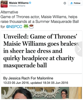 Maisie Williams Shut Down a Sexist Headline With the Perfect Tweet