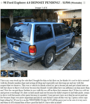 This Dad's Craigslist Post is Selling His Misbehaving Son's Car and Shaming Him For Being Disrespectful