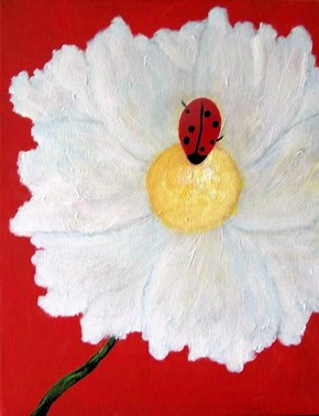 """A certain cheezpeep who spends a lot of her time under thecomfeesofa .Like most paintings I do, I get my ideas from my friends. This is an 11x14"""" stretched canvas. This is Ladybug in Love."""