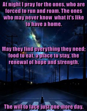 At night I pray for the ones, who are forced to run and roam. The ones who may never know  what it's like to have a home.  May they find everything they need; food to eat, a place to stay, the renewal of hope and strength. The will to face just one more d