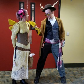 Steampunk Discord and Fluttershy at Bronycon