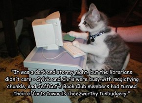 """It was a dark and stormy night, but the librarians didn't care - Sylvia and Chris were busy with magicfying chunkle, and JeffCat's Book Club members had turned their efforts towards cheezworthy tunbudgery."""