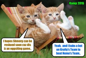 Meanwhile, as teh Kamp Baseball Game is temporarily postponed until Shmerg can be reskued, deze two Kamper spektators ar eager for teh game to resume.. And hopefully the game can be completed befor teh Wurld is destroyed by teh Atomic Comet!