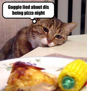 Goggie lied about dis being pizza night