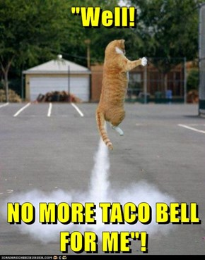 """""""Well!  NO MORE TACO BELL FOR ME""""!"""