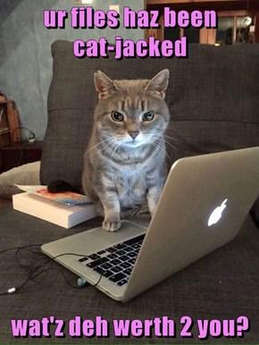 ur files haz been                     cat-jacked  wat'z deh werth 2 you?