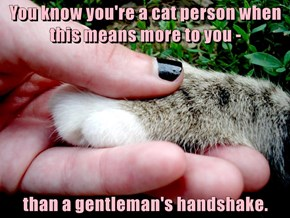 You know you're a cat person when this means more to you -  than a gentleman's handshake.