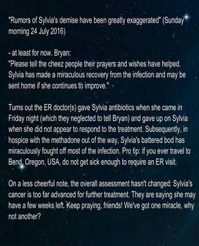 """Rumors of Sylvia's demise have been greatly exaggerated"" (Sunday morning 24 July 2016)"