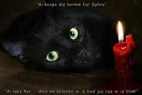 """Ai keeps diz bernin fur Sylvia""  ""Ai lubz her - shee no beleebe ai iz bad jus cuz ai iz blak!"""