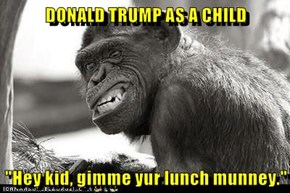 "DONALD TRUMP AS A CHILD  ""Hey kid, gimme yur lunch munney."""