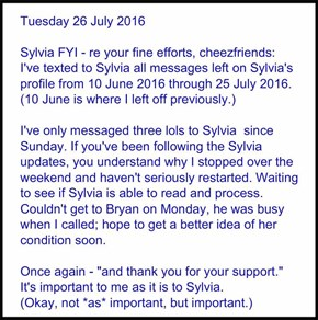 Tuesday 26 July 2016: a Sylvia non-update