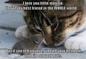 I love you little mousie:                                                         You're my best friend in the WHOLE world.....  But if you tell anyone, I'll bite your head off                                                        and rip out your guts.