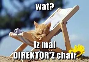 wat?  iz mai                     DIREKTOR'Z chair