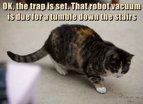 OK, the trap is set. That robot vacuum is due for a tumble down the stairs