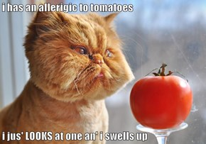 i has an allerigic to tomatoes  i jus' LOOKS at one an' i swells up
