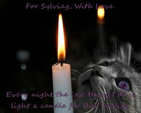 For Sylviag, With Love.  Every night the last thing I do is light a candle for Our Sylviag.