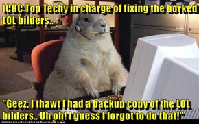 "ICHC Top Techy in charge of fixing the borked LOL bilders..  ""Geez, I thawt I had a backup copy of the LOL bilders.. Uh oh! I guess I forgot to do that!"""