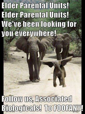 Elder Parental Units!  Elder Parental Units!  We've been looking for you everywhere!  Follow us, Associated Biologicals!  To FOOFANY!