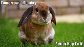 Tomorrow's Monday  I Better Hop To It!