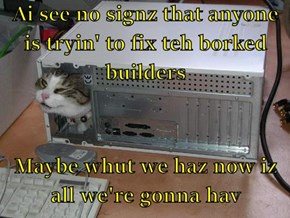 Ai see no signz that anyone is tryin' to fix teh borked builders  Maybe whut we haz now iz all we're gonna hav