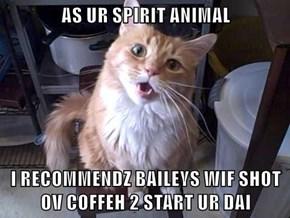 AS UR SPIRIT ANIMAL  I RECOMMENDZ BAILEYS WIF SHOT OV COFFEH 2 START UR DAI