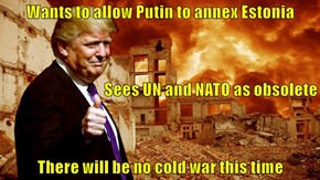 Wants to allow Putin to annex Estonia Sees UN and NATO as obsolete There will be no cold war this time