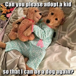 Can you please adopt a kid  so that I can be a dog again?
