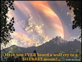 Have you EVER heard a wolf cry to a SHERBET moon?..
