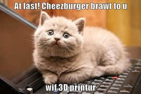At last! Cheezburger brawt to u  wif 3D printur
