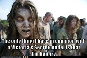The only thing I have in common with a Victoria's Secret model is that                           I'm hungry