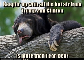 Keepin' up with all the hot air from Trump and Clinton   Is more than I can bear