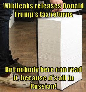 Wikileaks releases Donald Trump's tax returns  But nobody here can read it, because it's all in Russian!