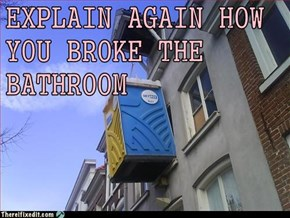 EXPLAIN AGAIN HOW YOU BROKE THE BATHROOM