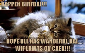 HAPPEH BIRFDAI!!!   HOPE ULL HAS WANDERBL DAI, WIF LAWTS OV CAEK!!!