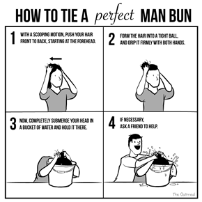 How to Tie A Perfect Manbun (by The Oatmeal)