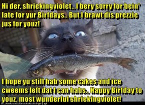 Hi der, shriekingviolet.. I bery sorry for bein' late for yur Birfdays.. But I brawt dis prezzie jus for youz!  I hope yu still hab some cakes and ice cweems left dat I can habs.. Happy Birfday to youz, most wunderful shriekingviolet!