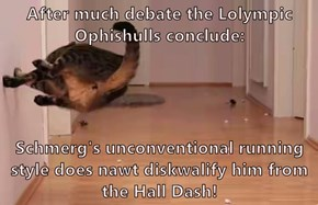 After much debate the Lolympic Ophishulls conclude:  Schmerg's unconventional running style does nawt diskwalify him from the Hall Dash!