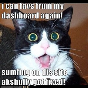 i can favs frum my dashboard again!   sumfing on dis site akshully got fixed!