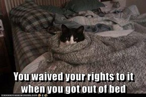 You waived your rights to it when you got out of bed
