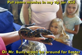 Put some monies in my tip jar, Kid  Or Mr. Buns woan be around for Easter